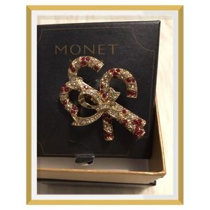 Monet Christmas Crystal Candy Cane Pin/Brooch